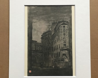 1948 Edinburgh - The Regent Bridge from Leith Street Original Vintage Chiang Yee Illustration - Mounted and matted - Available Framed
