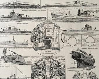 1923 Submarine Original Antique Print - Mounted and Matted - Decorative Art - Wall Decor - Navy - Marine Decor - Diagram - Shipping