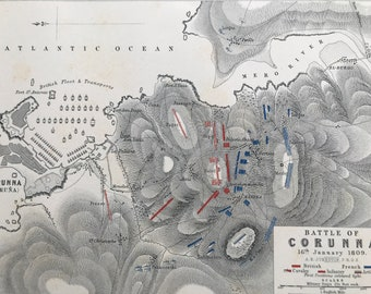 1875 Battle of Corunna, 1809 Original Antique Map - Napoleonic Wars - Spain - Battle Map - Military History - Available Framed