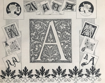 1897 Letter A - Decorative Alphabet Letter Original Antique Print - Birthday Gift - Mounted and Matted - Available Framed