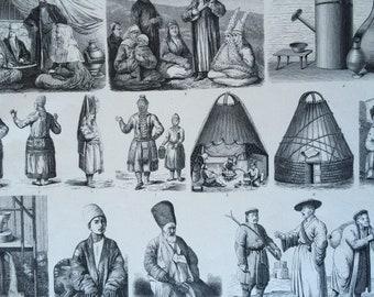 1870 Central Asian People and Culture Large Original Antique Engraved Illustration - Mordovia Kazakhstan Uzbekistan Russia Volga Region
