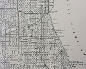 1903 Plan of Chicago Original Antique Matted Map - wall decor - home decor - Cartography - Illinois - USA - City Plan - Wall map