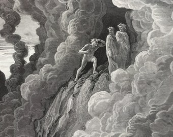 1880 Dante's Purgatory and Paradise Original Antique Gustave Dore Engraving - Dante Alighieri - Mounted and Matted - Available Framed