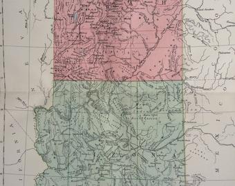 1875 UTAH & ARIZONA large original antique map, cartography, geography, wall decor, home decor, encyclopaedia britannica