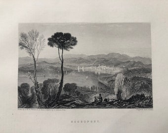 1871 Negropont Original Antique Steel Engraving - Negroponte - Euboea - Greece - Greek Islands - Mounted and Matted - Available Framed
