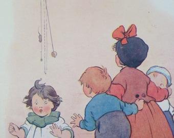 1917 Hickory Dickory Dock Vintage Nursery Rhyme Margaret W. Tarrant Illustration - Matted and Available Framed - Wall Decor - Nursery Decor