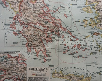 1895 Greece Original Antique Map - Available Mounted and Matted - Vintage Map