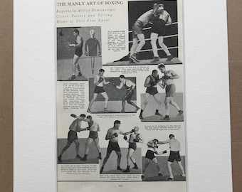 1940s The Manly Art of Boxing Original Vintage Print - Sports - Boxing Ring - Boxer - Mounted and Matted - Available Framed