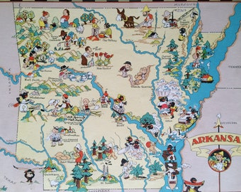 1935 Arkansas Original Vintage Cartoon Map - Ruth Taylor - Available Mounted and Matted - Whimsical Map - United States