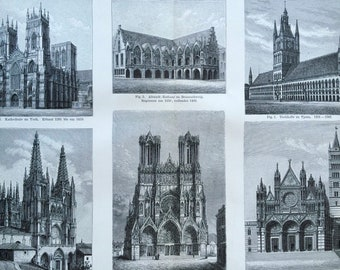1897 Gothic Architecture Large Original Antique Lithograph - Available Mounted and Matted - Gift for Architect - Vintage Decor