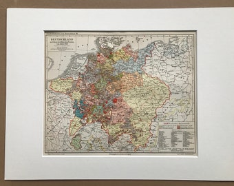 1897 Germany after the Westphalia Peace Treaty 1648 Original Antique Map - Available Mounted and Matted - German History - Vintage Map