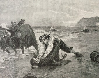 1892 Smugglers Surprised: A Critical Moment Original Antique Engraving - Victorian Decor - Pirates - Smuggling - Available Framed