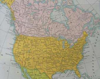 1940s North America Original Vintage Map - Colourful Wall Decor - USA, Canada, Mexico Wall map - Home Decor - 13 x 9.5 Inches