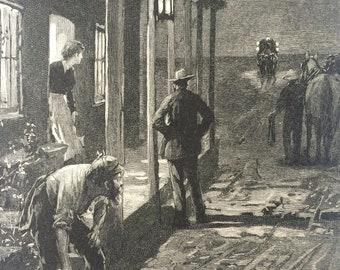 1890 The Hay Coach, A Night Halt Original Antique Illustration - Australia - Available Framed