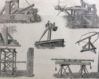 1880 Artillery Set of 3 Original Antique Steel Engravings - Military Decor - Military History - Weapons - War - Wall Decor - Office Decor