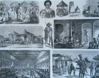 1870 African Tribes, Peoples, Art and Culture Large Original Antique Engraved Illustration - Ethnography - Ethiopia - Abyssinia - Tigre