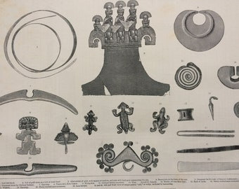 1883 Gold Ornaments from the Graves of the Incas of Peru Original Antique Engraving - Victorian Decor - Incan History - Peruvian History
