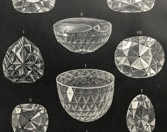 1897 Diamonds Original Antique Print - Mounted and Matted - Crystallography - Jewellery - Available Framed