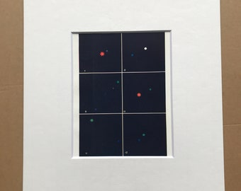 1914 Coloured Stars Original Antique Print - Astronomy - Available Framed