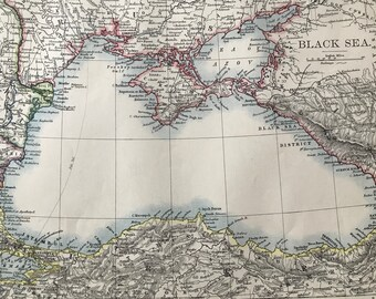 1899 Black Sea Original Antique Map - Bulgaria, Russia, Turkey, Ukraine, Georgia, Romania - Available Matted and Framed