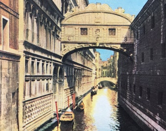 1940s The Bridge of Sighs - World Famous but sinister Landmark of Venice Original Vintage Print - Mounted and Matted - Available Framed