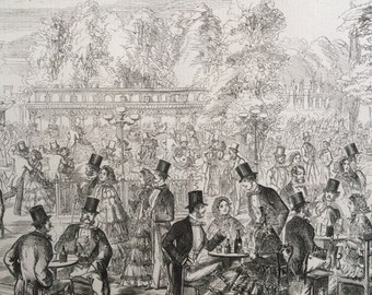 1858 Cremorne Gardens at the Height of the Season, Chelsea, London Original Antique Engraving - Fashion, London Society, Victorian Decor
