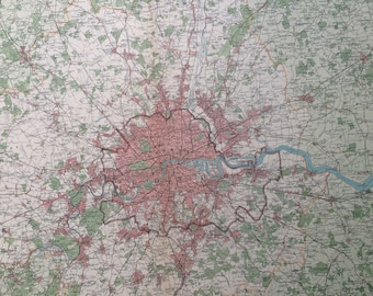 1922 LONDON Large Original Antique Times Atlas - City Plan - England - United Kingdom - Wall Decor - Home Decor