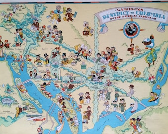 1935 Washington, District of Columbia Original Vintage Cartoon Map - Ruth Taylor - Mounted and Matted - Whimsical - United States