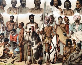 1904 Original Antique Lithograph - African Races - Human Races - Anthropology - Loango Ashantee Somali Ovampo Zulu - Victorian Wall Decor