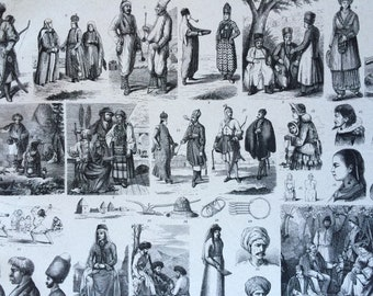 1870 Central Asian People and Culture Large Original Antique Engraved Illustration - Circassian Tatar Turkmen Peoples - Anthropology