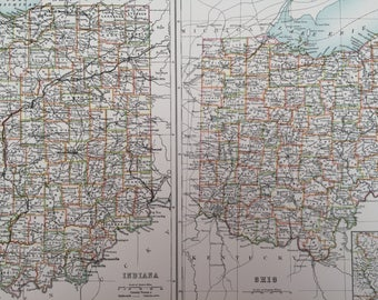 1898 Indiana and Ohio Large Original Antique A & C Black Map - United States - Victorian Wall Decor - Wedding Gift Idea