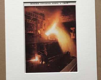 1940s Bessemer convertor during a 'Blow' Original Vintage Print - Mounted and Matted - Factory - Iron - Available Framed