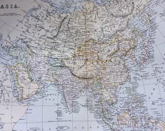 1891 ASIA Original Antique Map  - 9 x 12 Inches - Cartography - Wall Decor - Home Decor - Geography - Asian Decor - Asian History