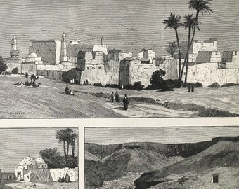 1883 The Ruins of Thebes Original Antique Print - Temples of Luxor - Valley of the Tombs of Kings - Mounted and Matted - Available Framed