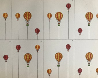 1891 Balloons Original Antique Print - Aeronautics - Available Matted and Framed