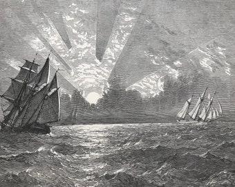 1874 Sunset, Lake Michigan Original Antique Wood Engraving - Mounted and Matted - River Scene - Sailing Boat - United States