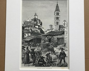 1876 Market Place, Valladolid Original Antique Wood Engraving - Mounted and Matted - Spain - Architecture - Available Framed