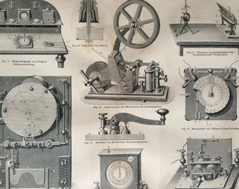 1878 Telegraph Large Original Antique print - Available Mounted and Matted - Machinery - Victorian Technology - Victorian Decor