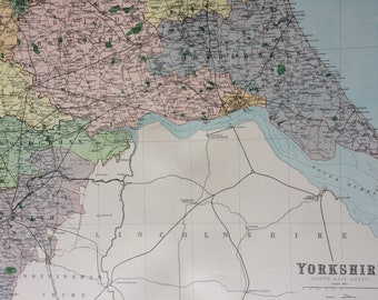 1868 Yorkshire (Southeast) Large Original Antique Map showing railways, roads & parliamentary divisions - UK County - Wall Map