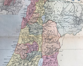 1904 Palestine Original Antique Map with inset plan of Ancient Jerusalem - Available Mounted and Matted - Vintage Wall Decor - Israel