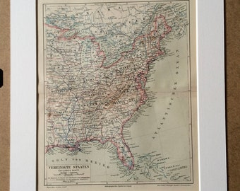 1890 United States (Eastern Section) Original Antique Map - Available Mounted and Matted - USA - Vintage Map