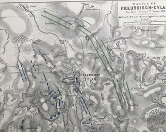 1875 Battle of Preussisch-Eylau 7th Feb 1807 Original Antique Map - Napoleonic Wars - Battle Map - Military History - Available Framed