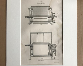 1858 Weaving - Improved Power Loom Original Antique Engraving - Victorian Technology - Available Framed
