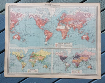 1922 Large Original Antique Times Atlas World Map on Mercator's Projection showing Commercial Development, Occupations & Means of Traffic