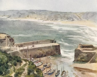 1925 Newquay Original Antique Print - Cornwall - England - Mounted and Matted - Available Framed