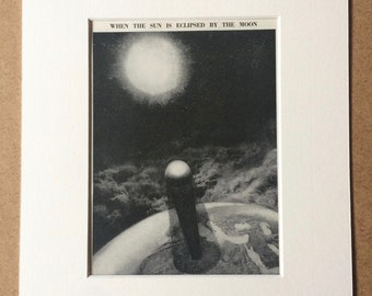 1940s Solar Eclipse Original Vintage Print - Mounted and Matted - Astronomy - Moon - Available Framed