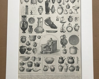 1897 Pottery Original Antique Print - Urn - Ceramics - Jug - Mounted and Matted - Available Framed