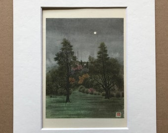 1950 Fort Tryon under the Moon, Manhattan, New York Original Vintage Chiang Yee Illustration - Mounted and Matted - Available Framed