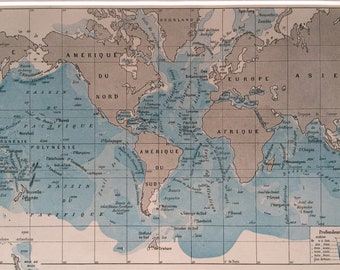 1923 Ocean Depths Original Antique World Map - Mounted and Matted - Vintage Wall Decor - Oceanography - Available Framed