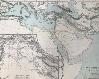 1875 Mohammedan Empire Original Antique Map with inset map of Mesopotamia, Iraq and Syria - Islamic Empire - Available Framed